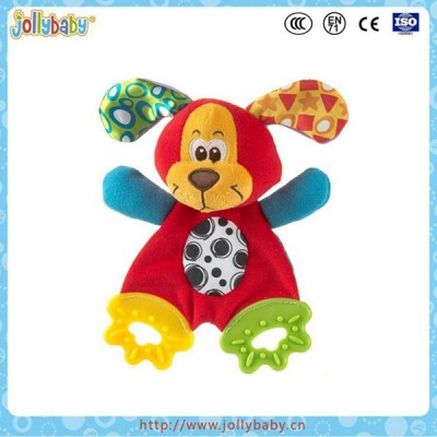Factory wholesale baby little dog comforter teether with crinkel paper