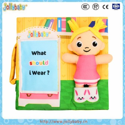 Exercising baby's ablity of operation cloth book with detachable doll