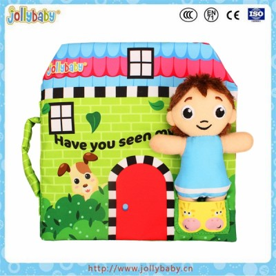 Jollybaby new design exercising operation ability cloth book with movable doll