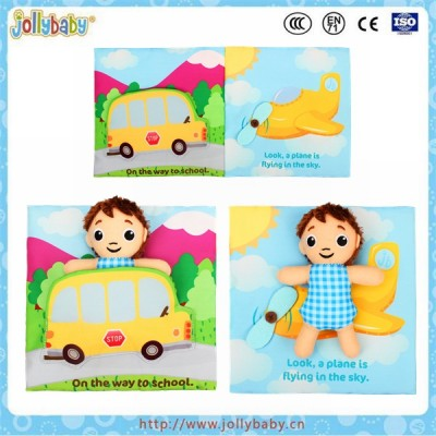 Jollybaby funny plush educational toys baby soft cloth story book with little boy toy