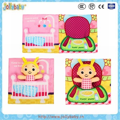 Funny plush educational toys baby cloth book with little girl toy
