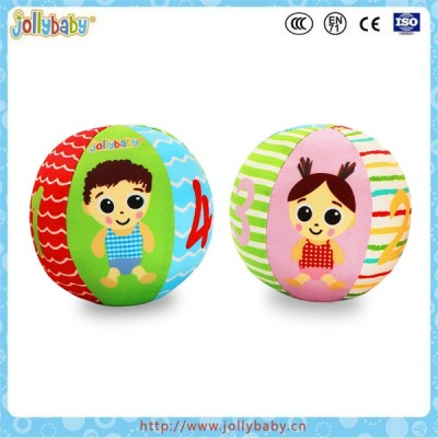 Jollybaby colorful baby educational stuffed soft rattle sport ball toy