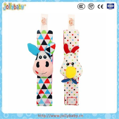 Infant baby soft knitted fuzzy rattle wristbands and rattle funny socks