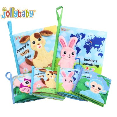 Jollybaby 4 Styles As A Set Toddler Rustle Sound Infant Educational Animals Fabric Book For Baby