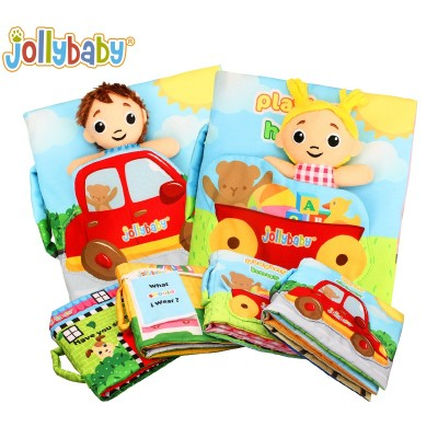 Jollybaby Cloth Book Baby Toy With Detachable And Movable Cute Dolls