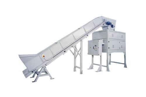 High volume indstrial shredder with baler for paper and cardboard