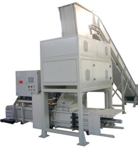 High volume indstrial shredder with baler for paper and cardboard