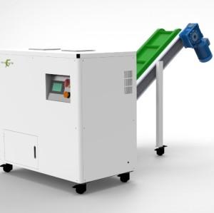 E-waste destruction hard drive shredder with conveyor