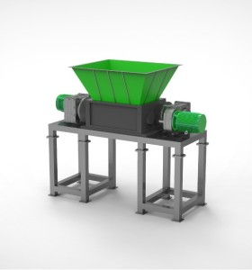 Industrial double shaft shredder  suitable for recycling a wide variety of difficult materials