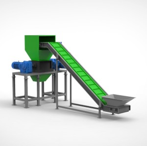 Heavy duty double shaft shredder for plastic wood metal and solid waste recycling  with conveyor