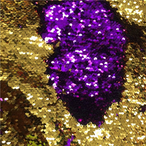 custom-made fish scale  sequin fabric purple and gold