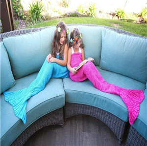 Mermaid crochet sleeping bag blanket