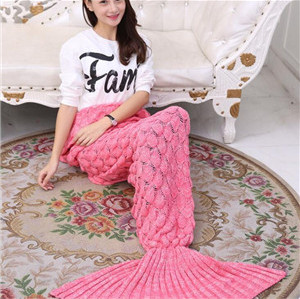 custome mermaid tail blanket knit pattern sleeping bag