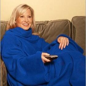 Large Blue Supersoft Fleece TV Blanket with Sleeves
