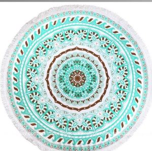 Extra Large Custom Printed Round fringe Beach Towel