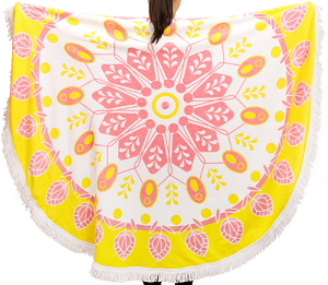 Shining fringe Printed Round Beach Towel