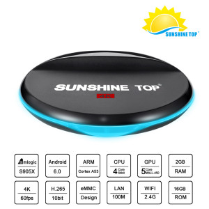 Sunshine Top Box Amogic S905X Quad Core 2.0 GHz SM-96 1G + 8G Android 6.0 TV Box WiFi 4K H.265 Streaming Media Players Bluetooth Opcional
