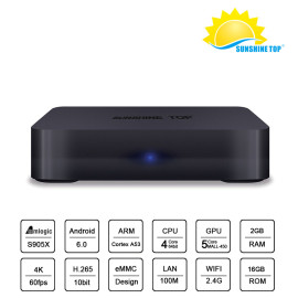 Haute stockage Amlogic S905W Quad Core 1G / 8G Sunshine Mini Android Smart TV Box Bluetooth4.0 en option