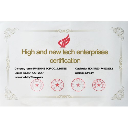 National Hi-Tech Enterprises certification