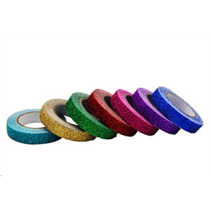 Free sample fluorescence polyester Decorative glitter tape
