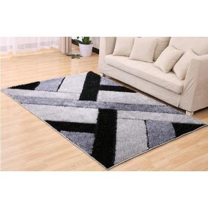 Hand tufted geometric pattern shaggy silk carpets