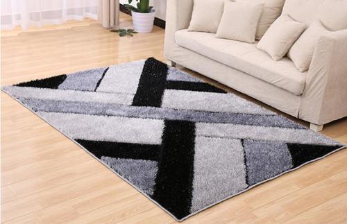 Hand tufted geometric pattern shaggy silk carpets