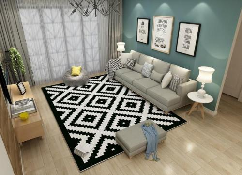 Wholesale modern style black and white pattern rugs