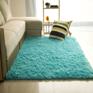 High pile 100% polyester shaggy plain washable carpets tiles