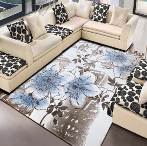 New design machine-made polyester flower carpet for livingroom