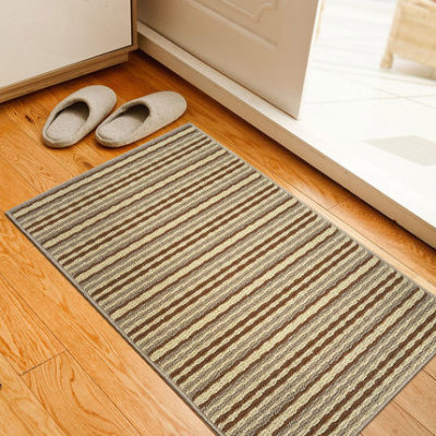 Machine made polyester stripe out door mats for bedroom or bathroom