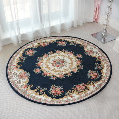 High quality machine made polyester circular bed side rugs or mats