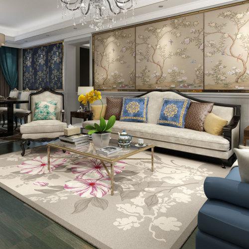 High quality jacquard polyester flower carpets for livingroom