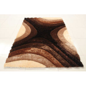 popular design stretch yarn mixed silk polyester shaggy carpet 3D design
