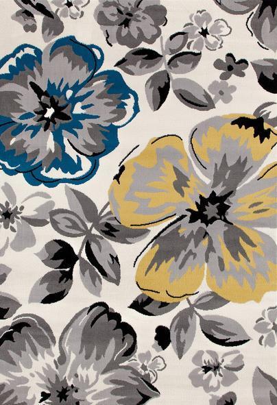 Modern design machine made 100% polyester flower rugs for room