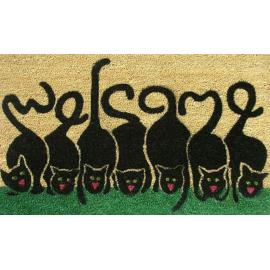 New design machine made polyester cats welcome doormat