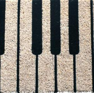 Piano pattern hand woven polyester shaggy doormat