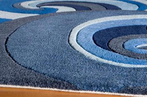 Customized machine made waves pattern microfiber rugs for decoration