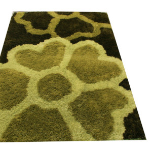 Attractive Flower Design Handmade Polyester Silk Carpet with Custom Size Color
