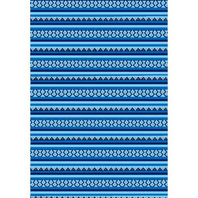 Hot selling machine made 100% polyester blue striped carpet