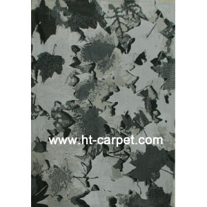Leaf design machine made 100% polyester rugs for home