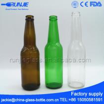 FDA Certified 330ml amber green empty beer bottle supplier, brewing custom beer supply,glass customized beer mug