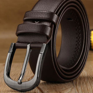 Anti-nickel pin buckle men's black/brown belt italy girdles