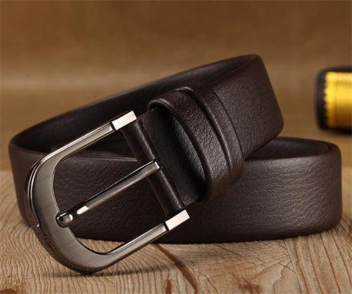 Anti-nickel pin buckle men's black/brown belt italy girdles