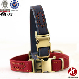 Hongmioo Custom Fashion Genuine Leather Dog Collar and Leash with Cobra Buckle