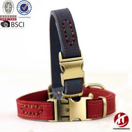 Hongmioo Custom Fashion Genuine Leather Dog Collar and Leash with Cobra Buckle