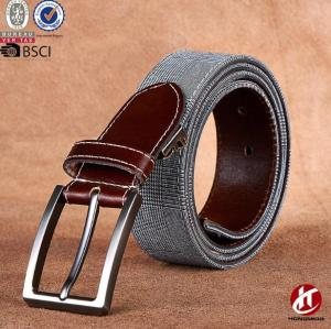 High Quality Mens Hole Grommet Casual Canvas Web Belt Material Combined Real Leather with Pin Buckle