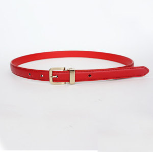 Red women stitched slimming pu belts