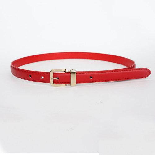 Red women stitched slimming pu belts