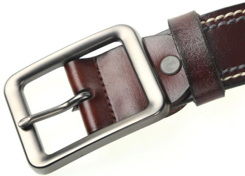 Brown Black Men's Belt Genuine Leather Can Be Adjustable With Pin Buckle