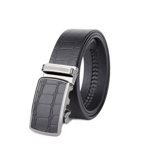 Cowskin Adjustable Belt With Automatic Buckle For Men Business Belt